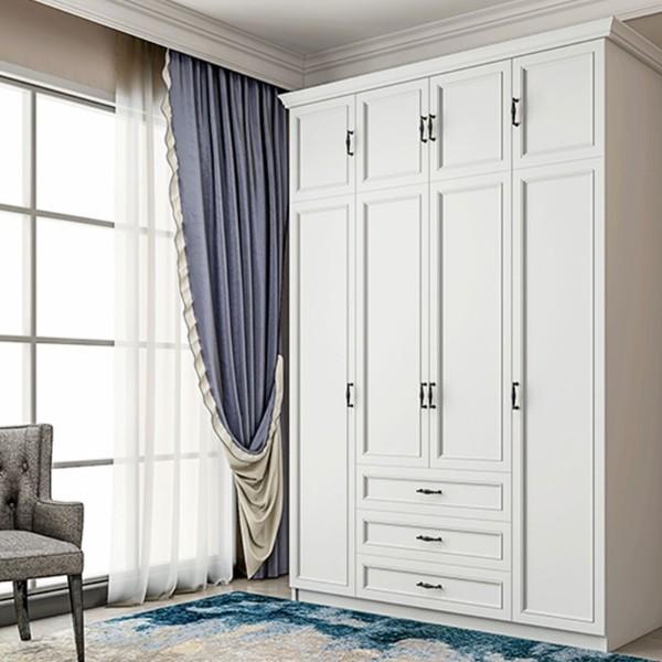 现代简组装对开门板式衣柜4开门