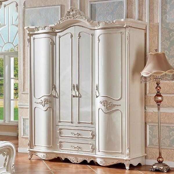 欧式衣柜四门2米衣柜实木珠光烤漆